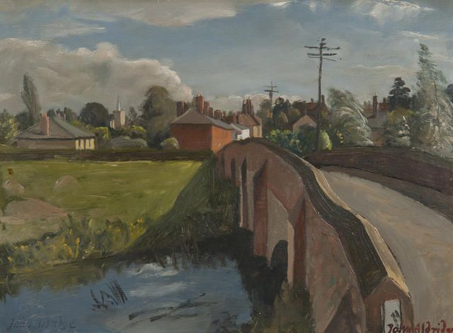 "This painting by John Arthur Malcolm Aldridge (British, 1905-1983) called 'The Bridge-Great Bardfield' shows my grandparents bungalow- the beige house furthest to the left. It was called "" Riverlyn"" but is sadly no longer there. This was painted in the summer of 1950."