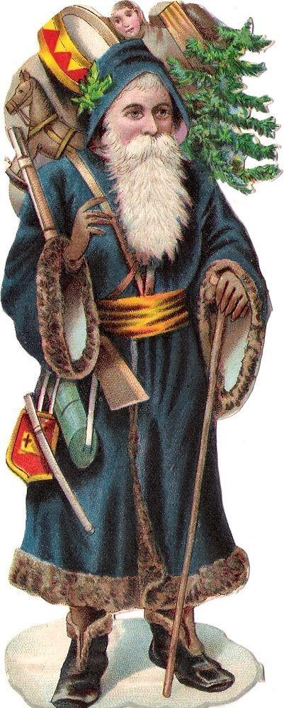 Oblaten Glanzbild scrap die cut chromo Nikolaus santa father XMAS pere noel: