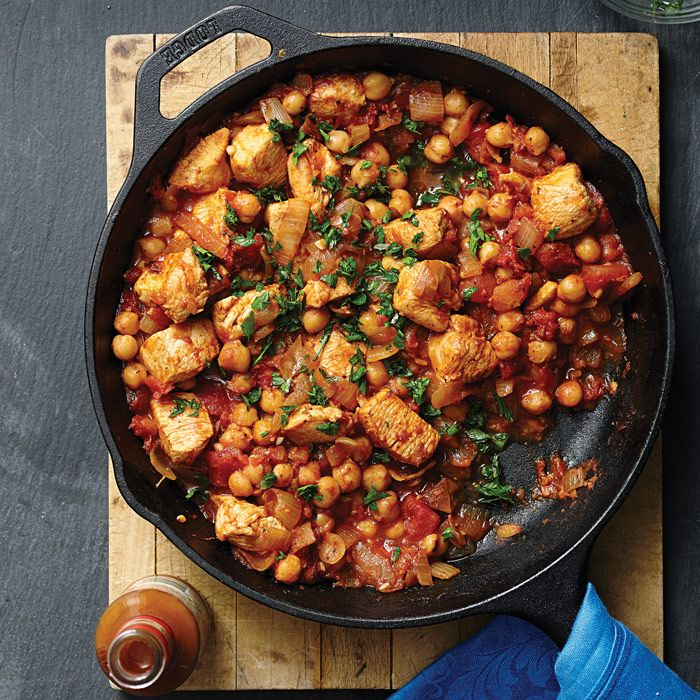 This quick, Middle Eastern Chicken & Chickpea Stew gets great flavor from cumin, lemon juice and garlic.