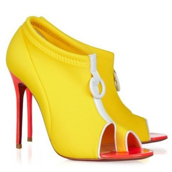 Christian Louboutin Snorkeling 100 neoprene and leather ankle boots    Heel measures approximately 100mm/ 4.5 inches. This season's athletic trend extends all the way out to the sea with scuba-inspired designs, and Christian Louboutin's yellow neoprene 'Snorkeling' ankle boots are a great way to dive into the look. The neon-pink patent-leather and white leather trims propel this statement pair into must-have territory - wear them with exotic floral prints for an SS12 finish.: Shoes, Snorkeling 100, Style, Louboutin Snorkeling, 100 Neoprene, Yellow, Christian Louboutin, Leather Ankle Boots, Christianlouboutin