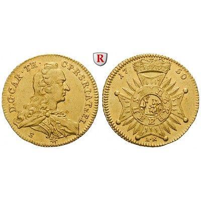 Jülich-Kleve-Berg, Herzogtum Jülich-Berg, Karl Theodor, Dukat 1750, f.vz: Karl Theodor 1742-1799. Dukat 1750 Düsseldorf. Auf die… #coins