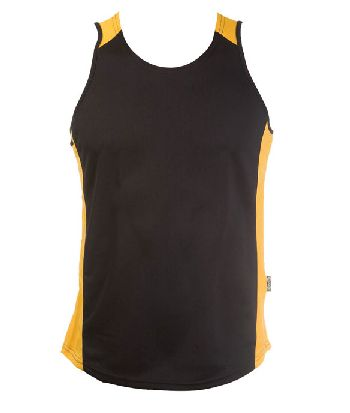 OC MENS BASKETBALL SINGLET    Printed with your team logo, names and numbers!  • 160gm 100% kooldri polyester hi-tech moisture removal mini-waffle knit  • 2 dimensional contrast colour with wide body panels