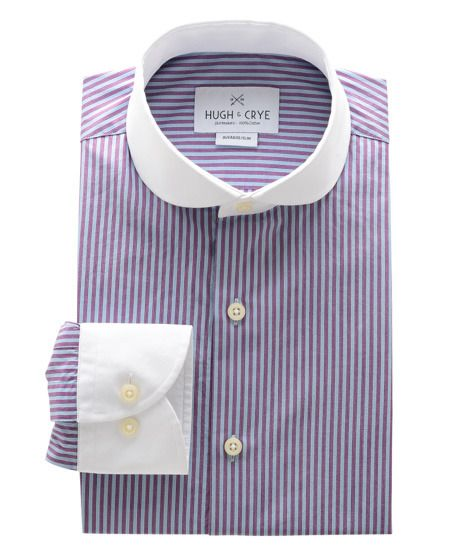Purple And Blue Stripe Contrast Cutaway Club Collar Shirt - Chalky Quantity Appears To Be ...
