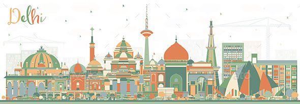 Delhi India City Skyline With Color Buildings City Skyline