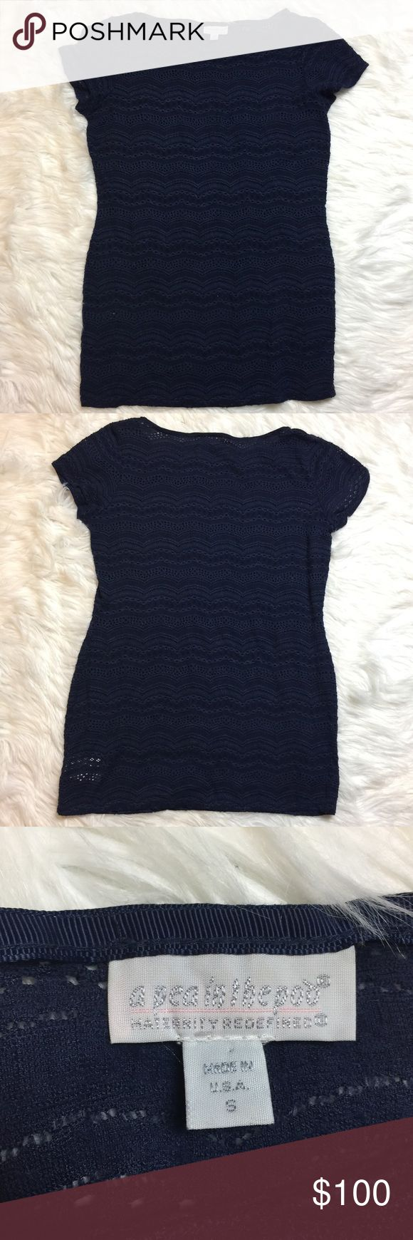 •• A PEA IN THE POD • Knit Maternity Blouse A PEA IN THE POD blue knit short sleeve Maternity Blouse Small  Product Details Achieve a chic and comfy casual look with A Pea in the Pod's maternity knit blouse. Style it with your favorite a blazer, jeans, and boots. Round neckline Blue  Size Small Pullover style Short Sleeve  Hits below hips Maternity Blouse  Imported Please inspect all pictures prior to purchase and message me with any questions you have. Coming from a pet free smoke free…