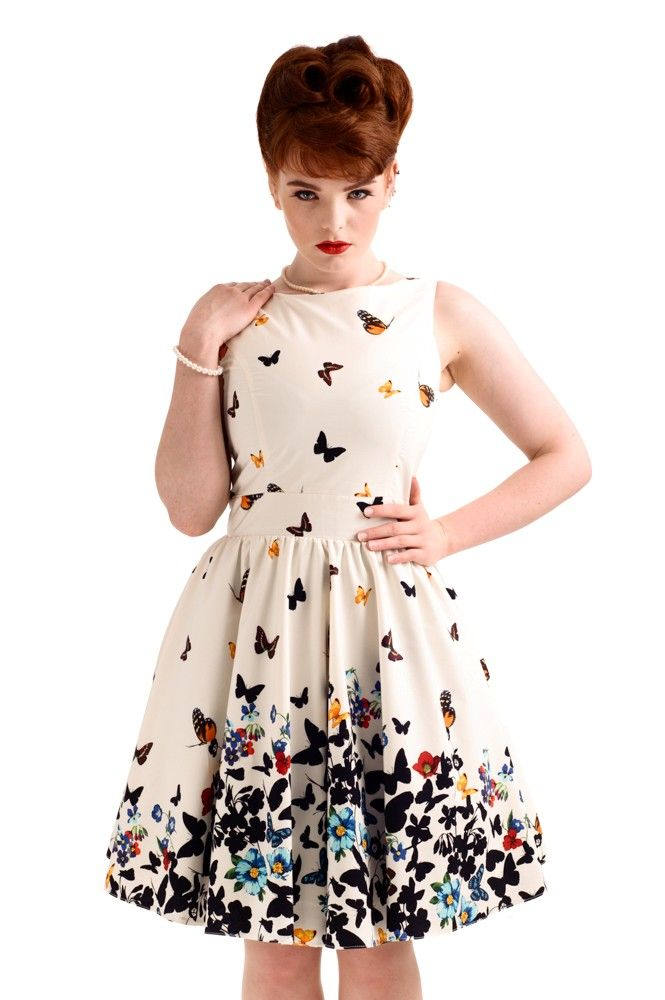 Beautiful White Butterfly Tea Dress - £50. Made in London.