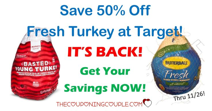 WOOHOO! This HOT Cartwheel is BACK! Save 50% off Fresh Turkeys at Target! Pay only $0.40/lb or LESS for a turkey! Hurry before it is gone!  Click the link below to get all of the details ► http://www.thecouponingcouple.com/fresh-turkey/ #Coupons #Couponing #CouponCommunity  Visit us at http://www.thecouponingcouple.com for more great posts!