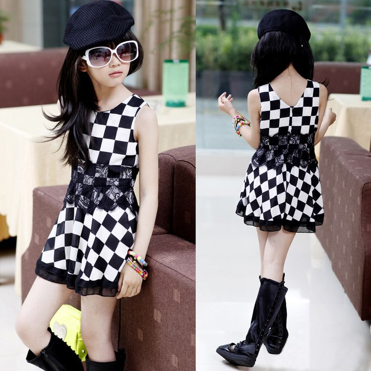 girls dress clothing dresses for girls summer dress Children's clothing female children in the summer of black and white plaid