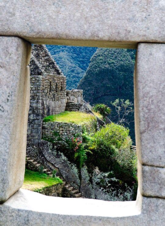 Inca window. Machu Picchu. Peru