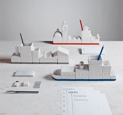 Remember when your desk accessories consisted of sticking your pens and pencils in an old coffee mug (guilty!)? Thank goodness those days are over and designers like Héctor Serrano have come out with great desk-worthy options like Desktructure for Seletti.