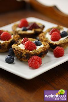 Healthy Dessert Recipes: Summer Berry and Yogurt Baskets. #HealthyRecipes #DietRecipes #WeightlossRecipes weightloss.com.au