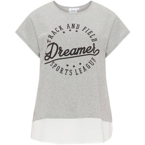 Zizzi Grey / Cream Plus Size Printed crepe hem sweatshirt (€32) ❤ liked on Polyvore featuring tops, hoodies, sweatshirts, grey, plus size, plus size short sleeve tops, womens plus size tops, short sleeve tops, gray sweatshirt and sport sweatshirts