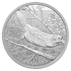 $50 2014 Fine Silver Coin - Swimming Beaver