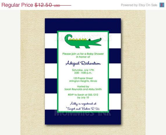 19 best gator announcements & invitations images on pinterest, Baby shower invitations