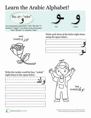 Third Grade Arabic Foreign Language Worksheets: Writing Arabic Letters: wāw