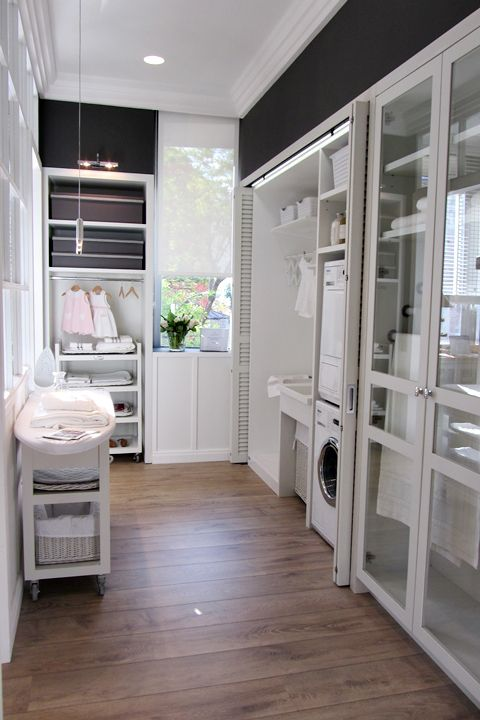 laundry room, stacked washer & dryer, great storage