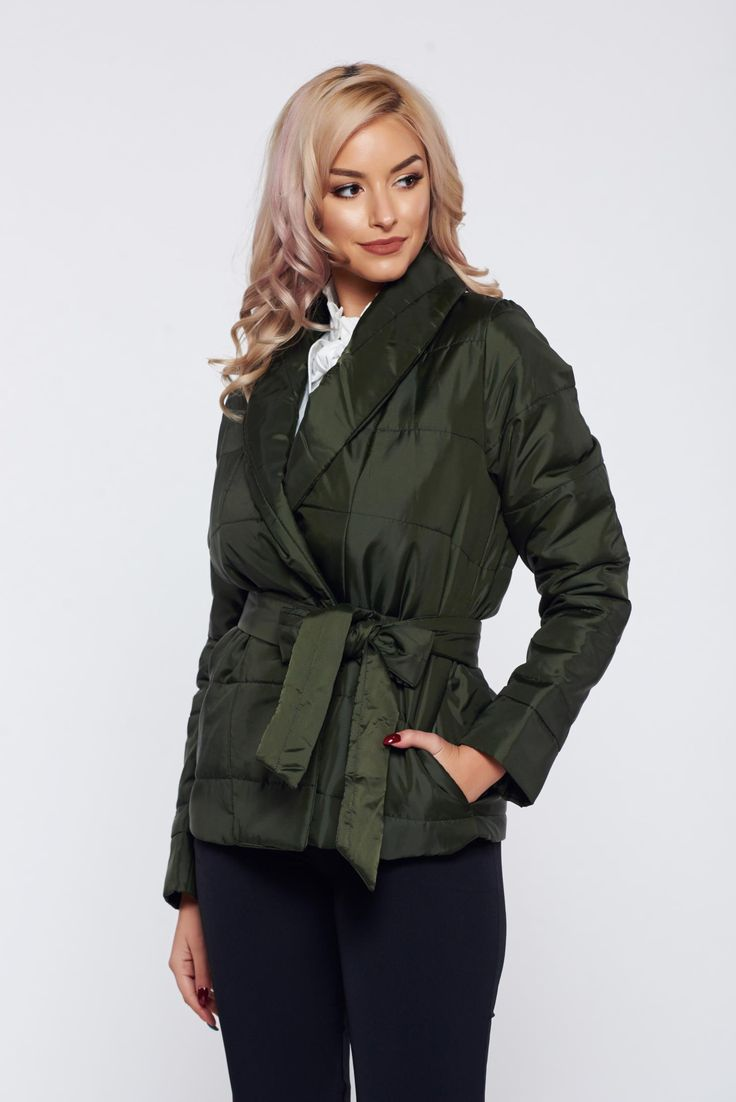 PrettyGirl darkgreen casual slicker jacket with pockets, women`s jacket, accessorized with tied waistband, metal eyelets fastening, with pockets, slicker fabric