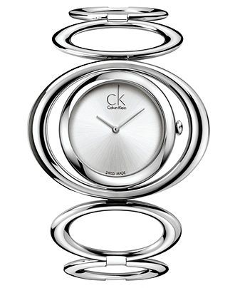 ck Calvin Klein Watch, Women's Swiss Graceful Stainless Steel Circle Link Bangle Bracelet 30mm K1P23120 - Women's Watches - Jewelry  Watches - Macy's