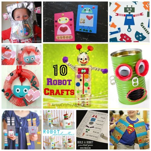 13 awesome Robot crafts for kids includes Free printables. Re-use, recycle and have a go at our easy robot crafts. Great for using up your junk collection!