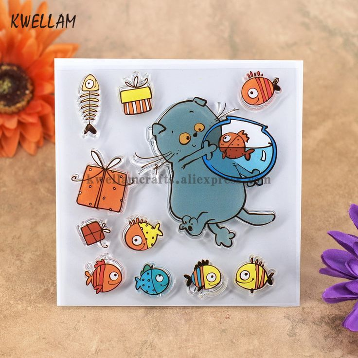 Cheap clear stamps, Buy Quality rubber stamp directly from China transparent stamp Suppliers: Cat Fish Gift Box Scrapbook DIY photo cards account rubber stamp clear stamp transparent stamp 10.5x10.5cm KW7050415