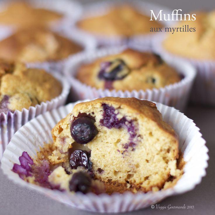 Muffins aux myrtilles (sans gluten, sans laitages, sans sucre)