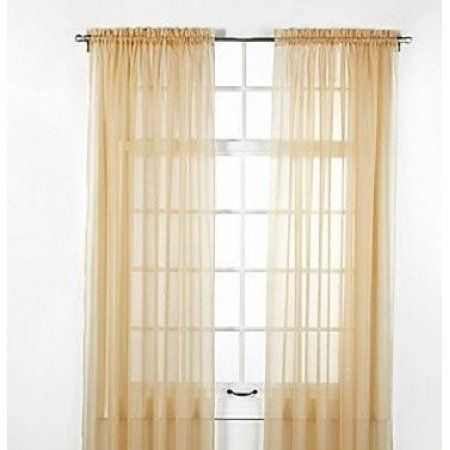 """CHEAPER ON BED X 6- COULD JUST DO 4 AT HEAD OF BED -- $4.02 1 PANELS GOLD  55"""" WIDE X 95"""" LENGTH SOILD WINDOW SHEER PANELS CURTAINS TREATMENT ROD POCKET DRAPE"""