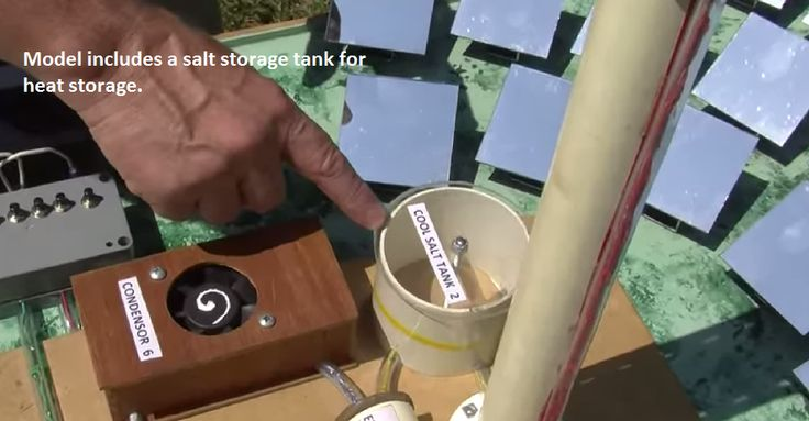 Modelo tutorial a escala, de uma planta de energia solar térmica. Concentrated Solar Thermal Power Tower with Heat Storage