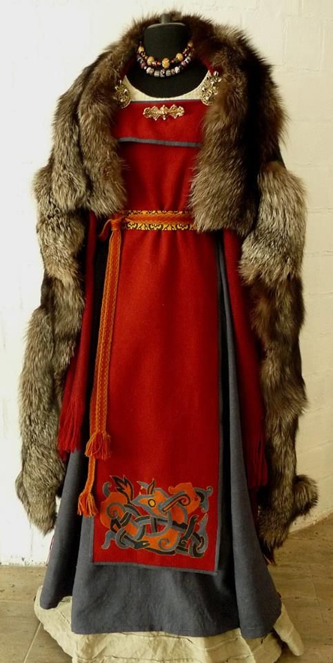 Katia Savelyeva's work - red & grey Norse woman's outfit, made August 2015.