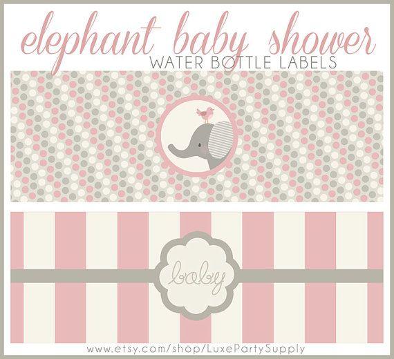 Diy Pdf Baby Girl Shower Pink Elephant Printable Water
