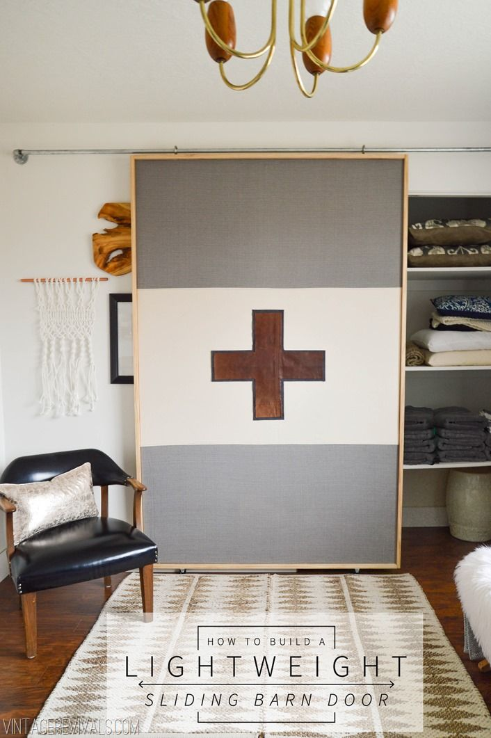 How To DIY A  Lightweight Sliding Barn Door vintagerevivals - master closet? Would need to be closable from inside closet.
