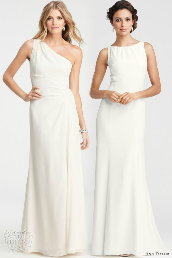 Ann Taylor Wedding Gowns: Silk Crepe One-Shoulder Gown with Pleated Waist; Olivia Open-Back Gown with Bateau Neck