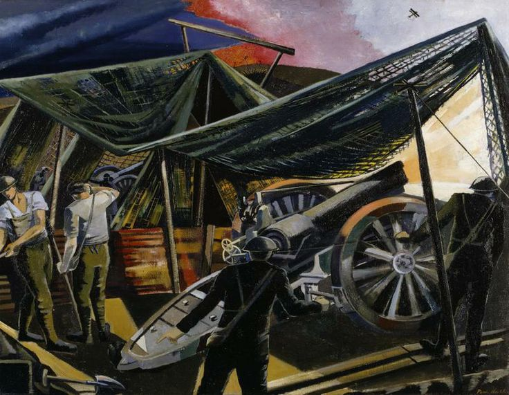 A Howitzer Firing, 1918, by Paul Nash Imperial War Museums WW1 - letter of firing