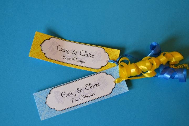 Dotty Dreams personalised favour tags blue and yellow