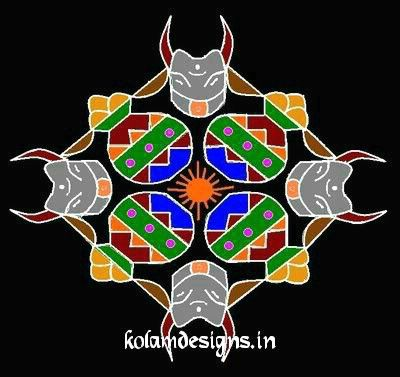 mattu pongal kolam with dots