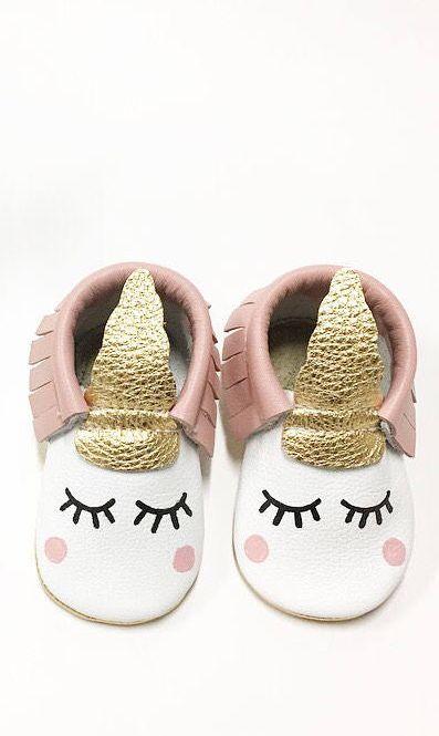 unicorn baby moccasins