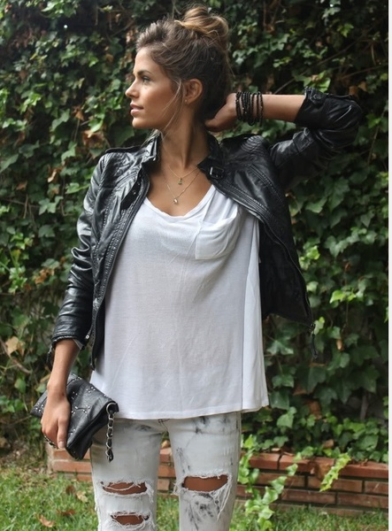 edgy yet casualDistressed Jeans, Black Leather Jackets, Ripped Jeans, White Tees, Fashion, Casual Outfit, Style, Clothing, White Shirts