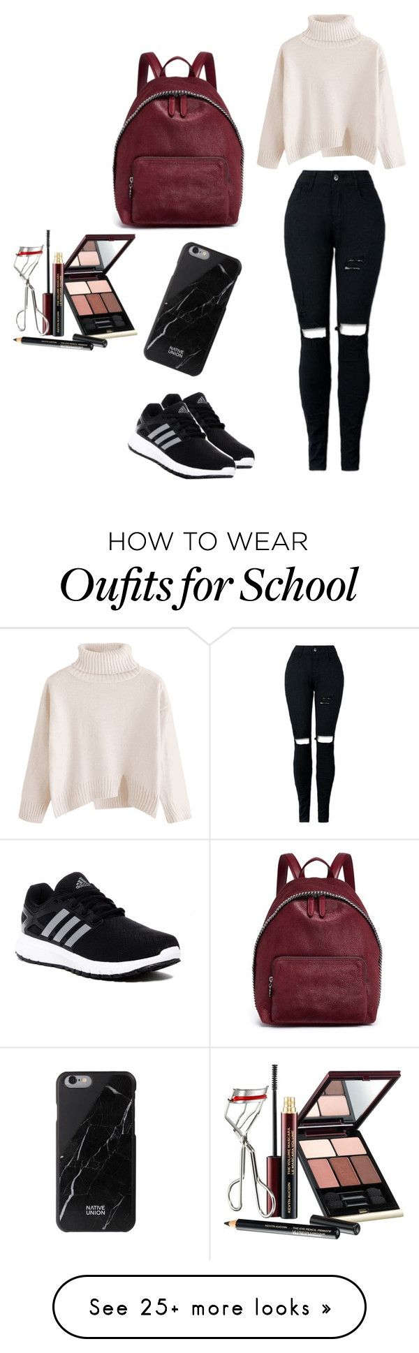 """school day"" by cookiefanoffashion on Polyvore featuring adidas, STELLA McCARTNEY and Kevyn Aucoin"