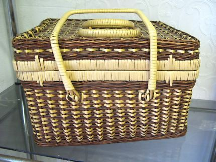 $20 CANE BASKET with HANDLE STORAGE 33x27x21cm Text 0411691171 or email info@bitspencer.com