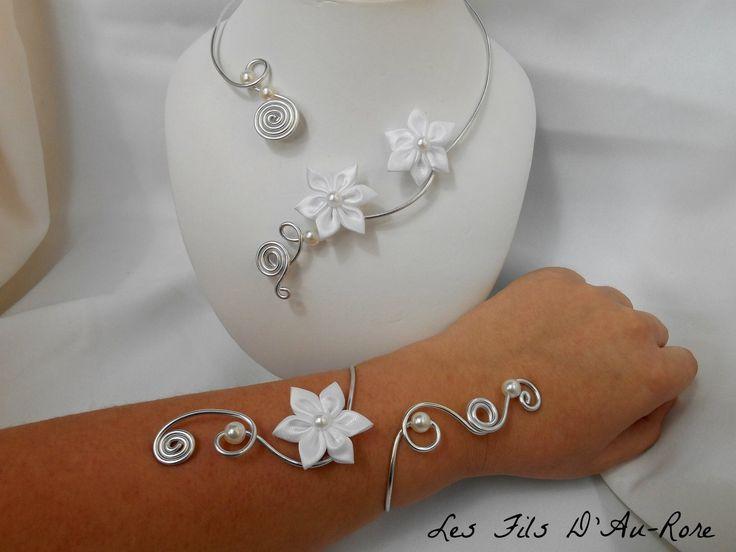Parure mariage FLEURA avec collier et bracelet en aluminium et satin