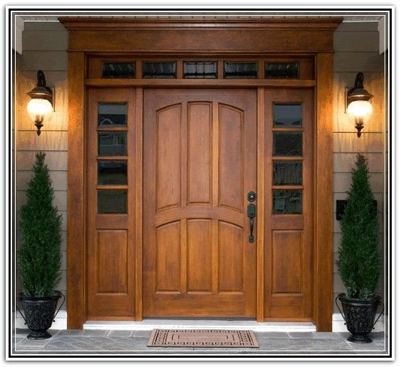 Craftsman style entry doors with sidelights and transom for Exterior side entry doors