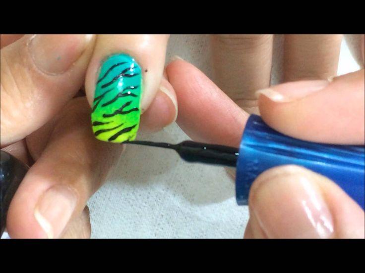 como hacer decorado en uñas en color fosforescentes con difuminado OLNAIL