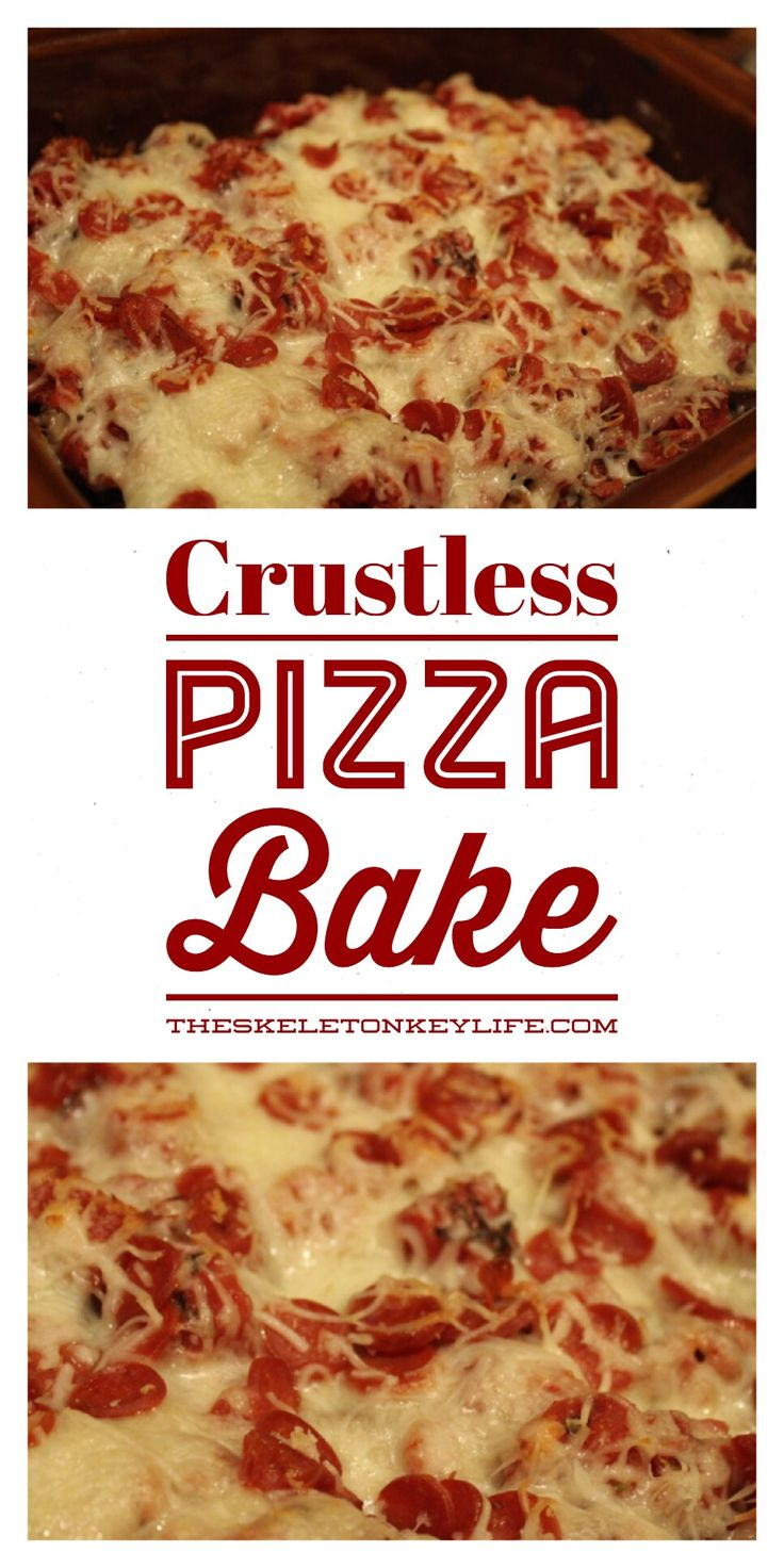 All the flavors of pizza without all the crust and guilt in an easy casserole! Crustless pizza bake recipe from TheSkeletonKeyLife.com