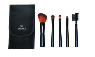 EMANI Set of Makeup Brushes. Includes 5 top-quality Emani brushes to give you perfect makeup application no matter where you are. The soft, non-irritating bristles glide gently across the skin, leaving behind just the right amount of makeup every time.  The Emani Vegan Brush Set is conveniently packaged in a travel case, making it perfect for keeping in your purse for makeup touch-ups or throwing in your carry-on before a weekend away.