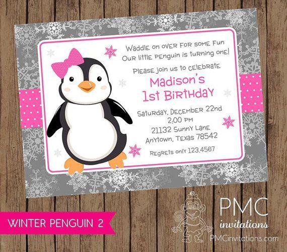 Winter Penguin Birthday Invitation  .1.00 each with envelope
