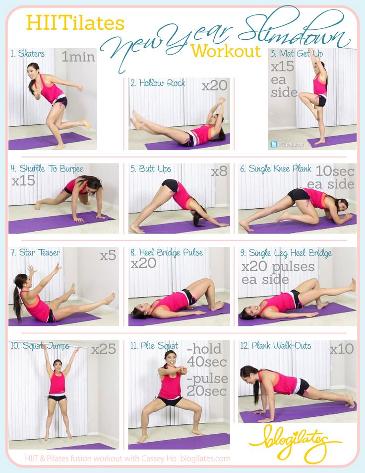 HIITilates New Year Slimdown Workout Printable