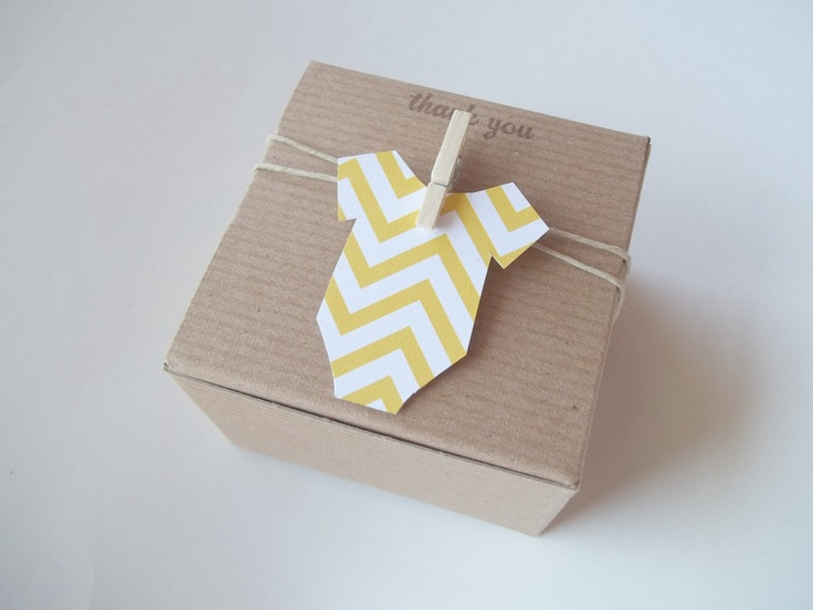 Baby Shower Thank You Gift Boxes : Baby shower favor box chevron yellow onesie x inch