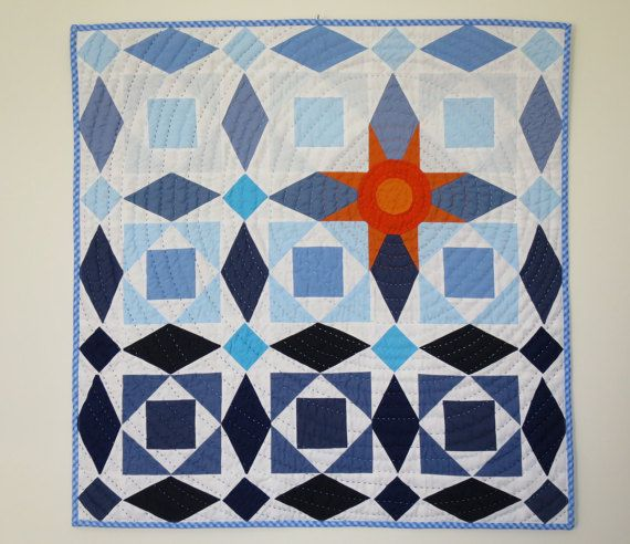 Wall Quilt  Fabric Decoration  Gift for Sailor  Fiber by NerosPost
