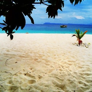 Beautiful white sandy beach at Lihaga Island, North Sulawesi, Indonesia