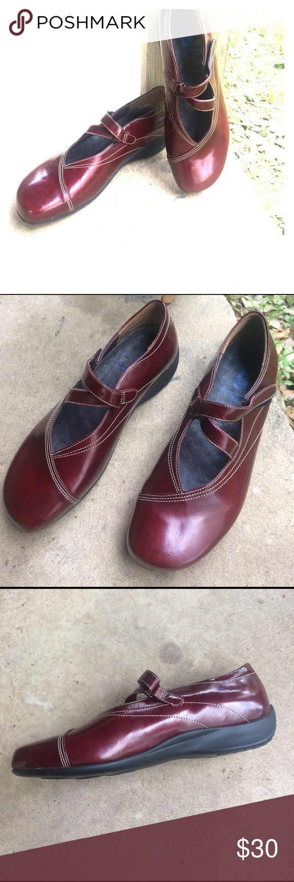 Slightly worn, candy apple red Wolky shoes Barely worn Wolky enclosed shoes with Velcro closure and adjustable straps wolkly Shoes Flats & Loafers