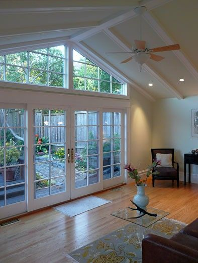 sliding french doors: Sunrooms, French Doors, Rooms Addition, Living Room, Family Rooms, Windows, Sun Rooms, Sliding Doors, Traditional Families Rooms
